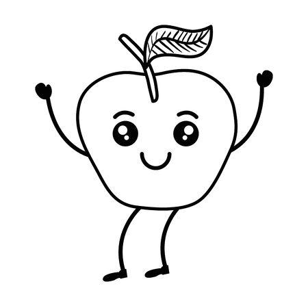 fresh apple fruit  character vector illustration design Ilustrace