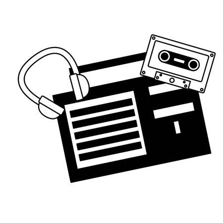 radio stereo cassette headphones music festival background vector illustration Banque d'images - 129937980