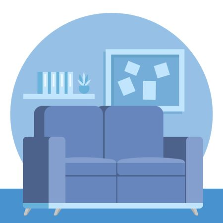 livingroom home place with sofa scene vector illustration design