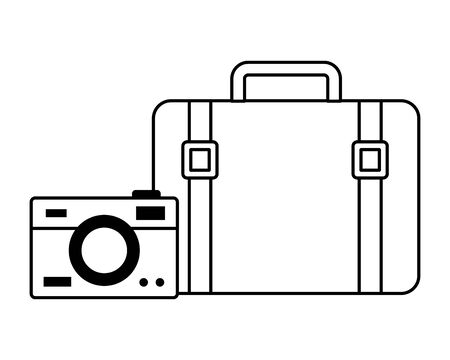 summer time holiday suitcase camera  vector illustration 向量圖像