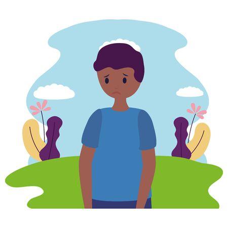 boy with sadness mental depressed vector illustration