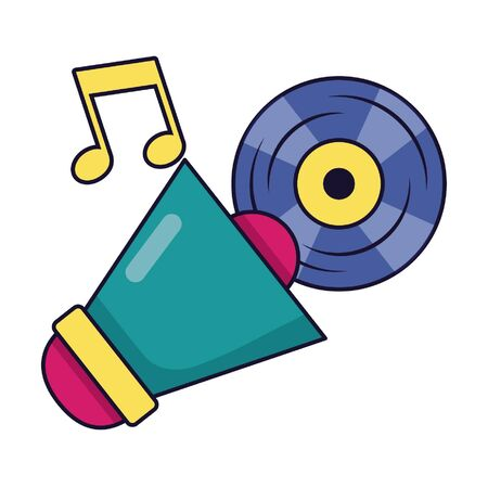megaphone and vinyl music festival on white background vector illustration