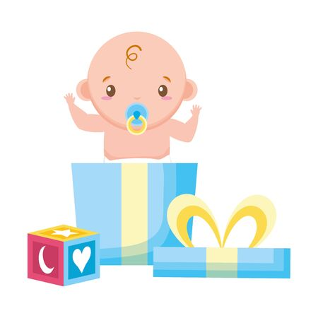 boy with gift and cube on white background baby shower vector illustration