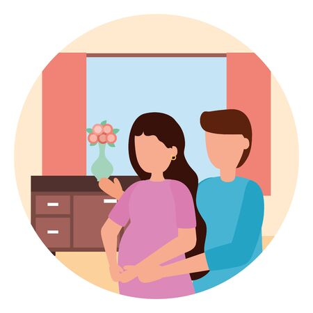 man and woman pregnancy and maternity scene flat vector illustration Standard-Bild - 129938075