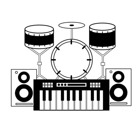 synthesizer drums speakers music background vector illustration Stock Vector - 129938077