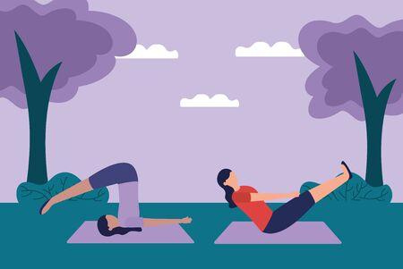 women flexing body yoga outdoor trees nature vector illustration