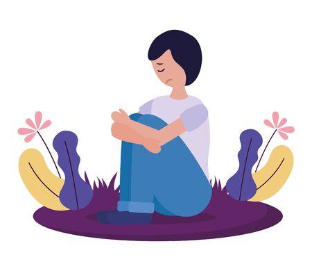 Junge sitzt mit Traurigkeit psychisch deprimiert Vektor-Illustration