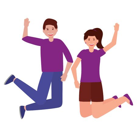 happy young man and woman character on white background vector illustration