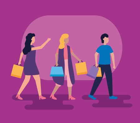 women and man with shopping bags vector illustration