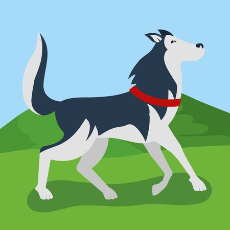 cute dog walking in the park vector illustration