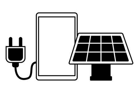 smartphone solar panel electric plug on white background vector illustration