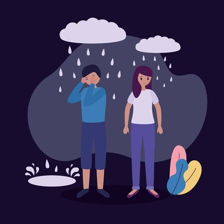 girl and boy with mental depressed vector illustration Illustration