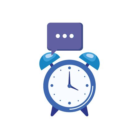 alarm clock watch with speech bubble vector illustration design
