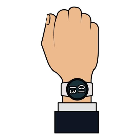 hand with smartwatch weareable technology vector illustration design 向量圖像