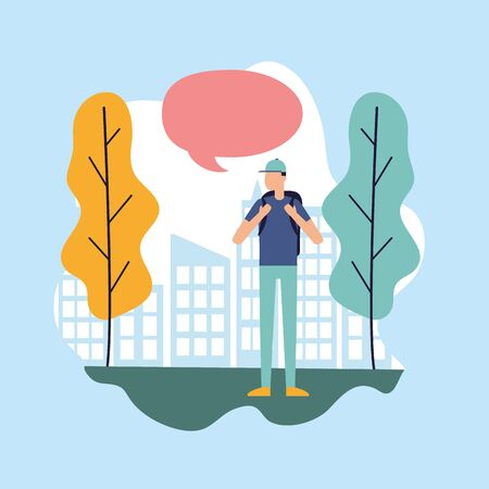 man with backpack talking bubble city park vector illustration Ilustrace