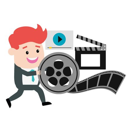 man reel filmstrip clapboard and screen production vector illustration