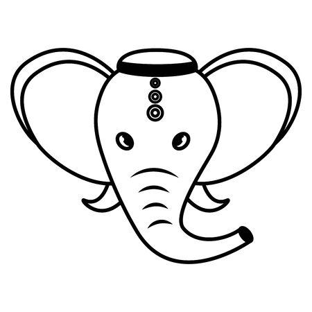 indian elephant ganesha folk icon vector illustration design