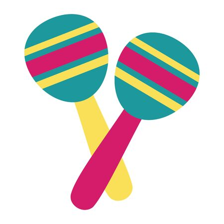 maracas instrument music festival on white background vector illustration Çizim