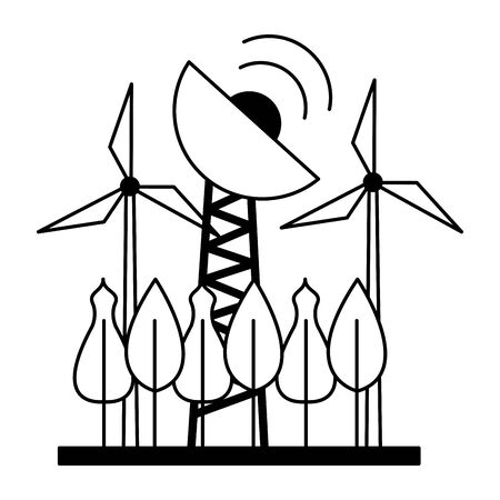 renewable energy antenna tree forest vector illustration