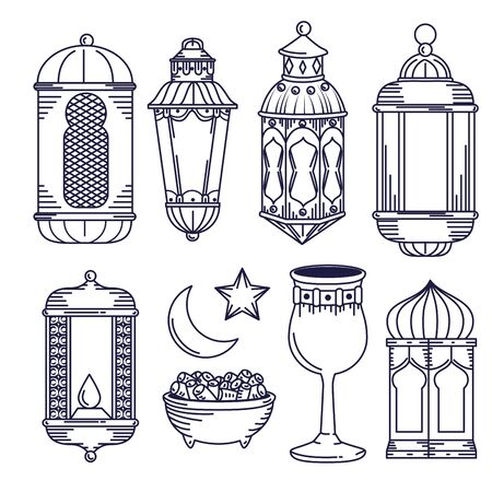 set lamps decoration with chalice and moon with star vector illustration