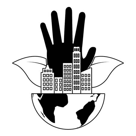 hand with planet city eco friendly environment vector illustration