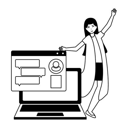 woman laptop computer chatting speech bubble vector illustration