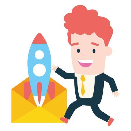 businessman with envelope rocket startup send email vector illustration