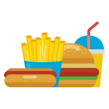 fast food burger hot dog french fries soda vector illustration Imagens - 129978881