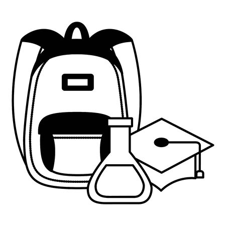 backpack gradution hat and chemistry flask back to school vector illustration