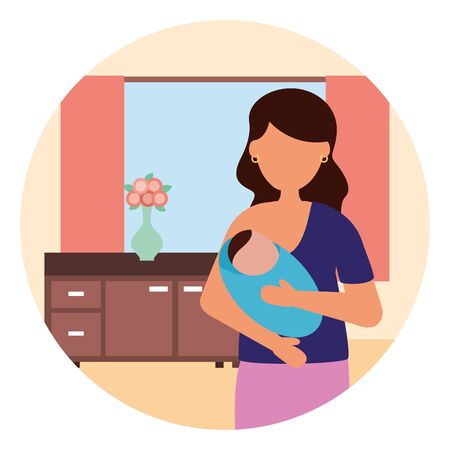 mom feeding newborn pregnancy and maternity vector illustration
