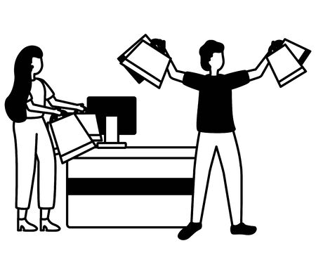 man and woman counter computer market shopping bag commerce vector illustration Ilustração
