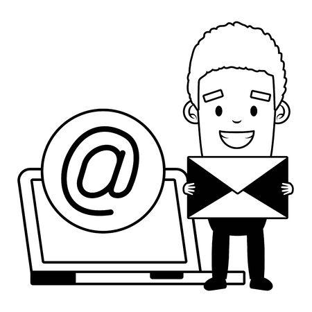 businessman with laptop envelope send email vector illustration