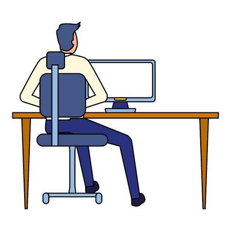 back view businessman working office desk computer business vector illustration