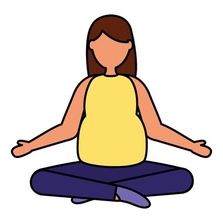 woman pregnancy yoga pose belly and maternity scene flat vector illustration Standard-Bild - 129979132