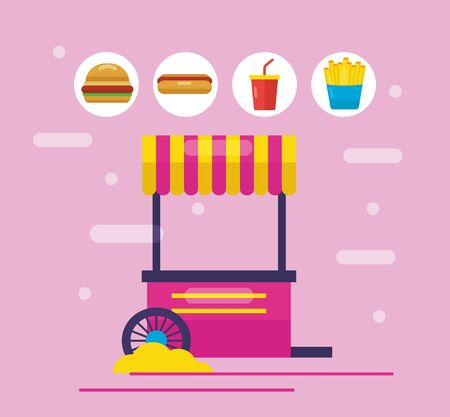 booth snack stickers soda hamburger outdoor vector illustration 向量圖像