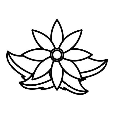 flower leaves natural decoration on white background vector illustration