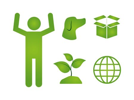 man plant world eco friendly vector illustration