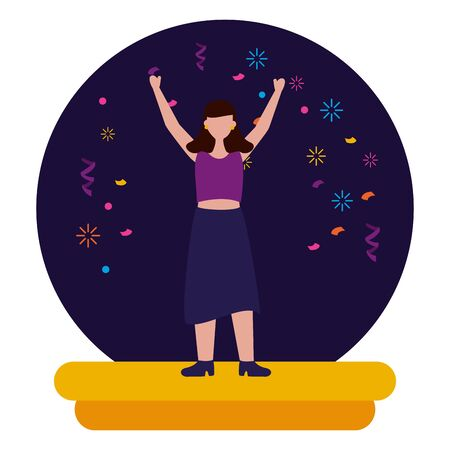 celebrating woman character party confetti vector illustration Illustration