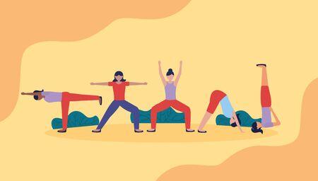 women flexing body yoga outdoor relax vector illustration