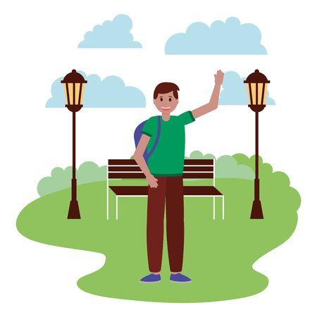 happy young man in the park with bench lamp post vector illustration  イラスト・ベクター素材