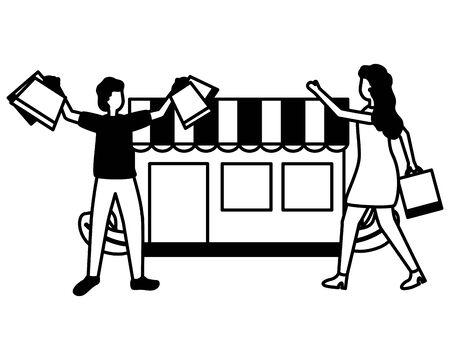 man and woman market shopping bag commerce vector illustration  イラスト・ベクター素材