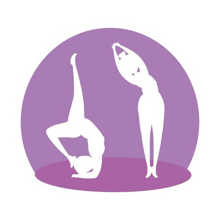 silhouette of girls couple practicing pilates vector illustration design