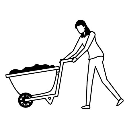 gardener woman with wheelbarrow work gardening design vector illustration
