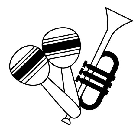 trumpet and maracas music background vector illustration  イラスト・ベクター素材