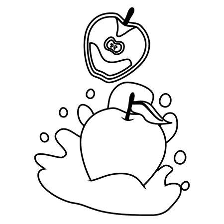 apple juice splash tropical fruits vector illustration  イラスト・ベクター素材