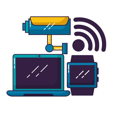 computer camera smart watch wifi free connection vector illustration Иллюстрация
