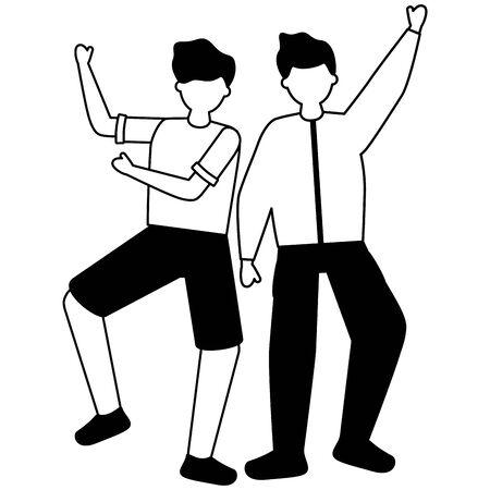 celebrando hombres manos arriba personajes ilustración vectorial blanco y negro