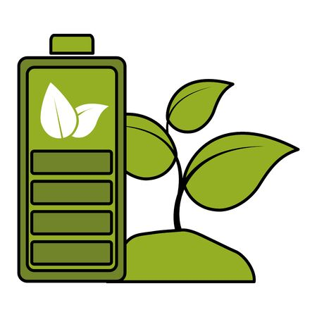 battery plant eco friendly environment vector illustration