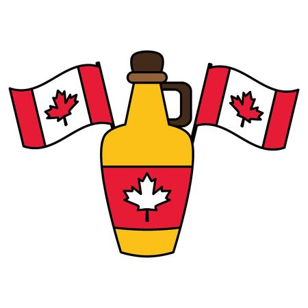 bottle syrup canadian flags happy canada day vector illustration
