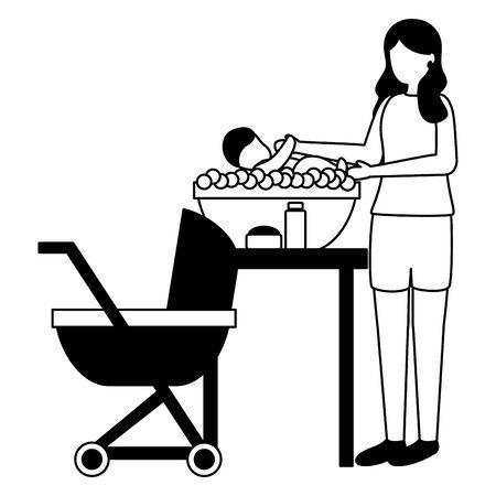 mother washing her baby in soapy water pregnancy and maternity vector illustration